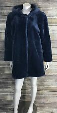 Dennis Basso Faux Fur Coat Size Small Blue Dressy Zip Up Hooded Womens B3