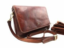 THE BRIDGE stunning chestnut leather messenger handbag crossbody or shoulder