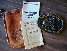 1981 VTG South Dakota Cowboy Solid Brass Registered Collection Belt Buckle