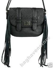 NEW Black Faux Leather Cross Body Fringe Handbag Primark Satchel Bag Atmosphere