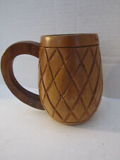"Vintage monkey pod wood carved mug. Hawaiian bar stein. Luau 5""."