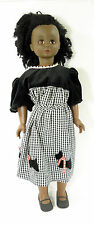 dav VINTAGE 1974 DOLL YOUNG AFRICAN AMERICAN GIRL BLACK & WHITE CHECKED DRESS