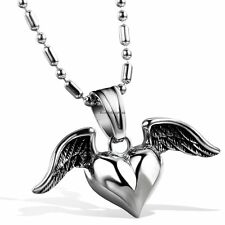 Polished Winged Heart Wing Love Cupid Pendant Necklace Stainless Steel Silver