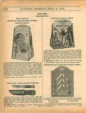 1937 ADVERT Remington Hunting Knife Store Display Counter Card Stand Girl Scout