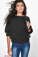Ladies New Stylish Amelia Oversized Rib Knit Batwing Jumper Bohoo UK size 8-26