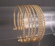 "gold tone 8-strand twist twisted rope metal bangle cuff 1"" wide bracelet"