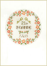 Coming of Age - 18th or 21st cross stitch greeting card- complete kit on 16 aida