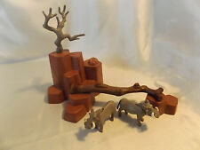 Playmobil Rare Warthogs w/ Log and Rock Landscape for Zoo, Safari, Ark Animals