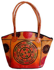 Circles Design Ethnic LADIES BAG Shantiniketan Leather Indian Shoulder Bag