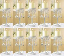 10 Ivory Crystal Beaded Elegant Pillar CANDLE HOLDER WEDDING Centerpieces NEW