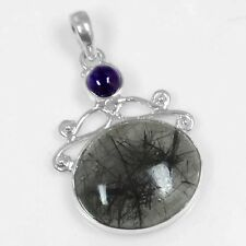 925 Sterling Silver Natural Black Rutile Quartz Amethyst Ladies Pendant Jewelry