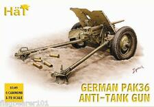HAT 8149 WW2 GERMAN PAK 36 37mm ATG & CREW. 1/72 SCALE UNPAINTED PLASTIC FIGURES