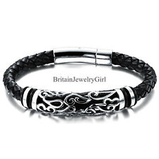 Men Unisex Black Leather Braided Wristband Bracelet Stainless Steel Bangle 8.27""