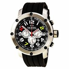 TW Steel TW608 Men's Grandeur Tech Black Dial Rubber Strap Chronograph Watch