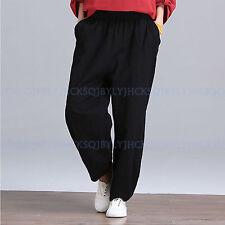 Vintage Women Cotton Linen Casual Loose Wide leg Harem Pants Trousers Baggies
