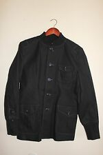 New Mens Military Button Down Trench Coat Jacket - Black - Size Large