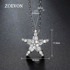 18K White Gold Plated Crystal Star Pendant Bib Chain Choker Necklace Jewelry NEW