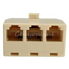 Beige Plastic RJ11 6P4C Male to 3-Port Female Telephone line Splitter Connector