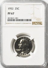 Beautiful 1952 25c Washington Proof Silver Quarter Dollar NGC PF67 Gem Unc