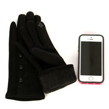 Stylish Faux Suede Button Accent Smartphone Friendly Women's Gloves Black