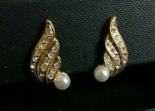 Faux Pearl & Diamante Gold Tone Feather Wing Clip On Earrings