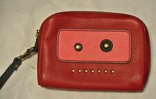 NEW Fossil Leather L Zip Multi Function Wristlet Robot Cute Red $60 swl1420933