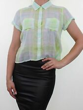 HOLLISTER green blue check plaid sheer silk feel crop shirt blouse size S 8 - 10