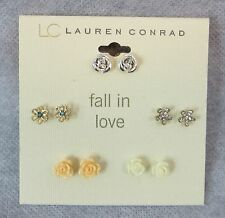 Lauren Conrad Earrings 5 Pairs New Fall In Love Flowers Roses Ball Free Shipping