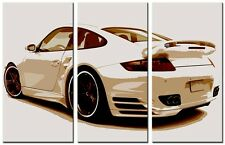 3 Panel Total 120x80cm Large ABSTRACT  ART CANVAS  DIGITAL PORSCHE  White