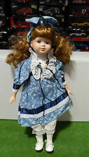 POUPEE PORCELAINE d couleur bleu NOSTALGIA MINT MOONFLOWER 1996 DOLLS COLLECTION