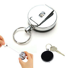 1 Pcs Retractable Pull Keychain Holder Reel Recoil Key Ring Belt Clip Funny
