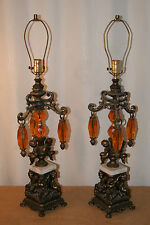 VINTAGE CAST TABLE LAMPS - CHERUBS/MARBLE/ ACRYLIC - ACCURATE CASTING