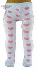 """SALE! White Tights w/ Pink Hearts made for 18"""" American Girl Doll Clothes"""