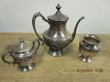 Antique Coffee/Tea Set Silver over Copper, 3 Piece Service