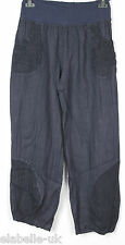 NEW LADIES ITALIAN LAGENLOOK 2 POCKET BOHO LINEN HAREM BAGGY PLAIN TROUSERS