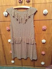 TOPSHOP Beige Black Dot Detail PARTY SUMMER HOLIDAY DRESS UK 12