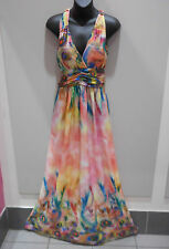 Maxi Dress Fits M L XL Peach Blue Sexy Peacock Print Empire Racer Back NWT DC441