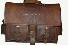 "15"" Men's Genuine Vintage Brown Leather Messenger Shoulder Laptop Briefcase Bag"