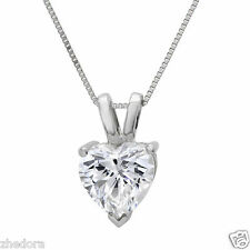 "2.0 CT Heart Cut 14K WHITE GOLD SOLITAIRE PENDANT NECKLACE + 16"" CHAIN"