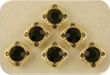 2 Hole Beads Gala 8mm Jet Black & Smoke Swarovski Crystal Elements Sliders QTY 6