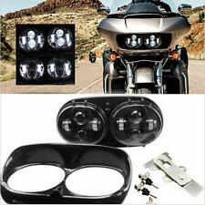 1Set 80W Motorcycle Dual LED Headlight Hi/Lo Beam for Harley Davidson Road Glide