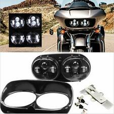 Cree Motorcycle Dual LED Headlight H/L Beam Black for Harley Davidson Road Glide