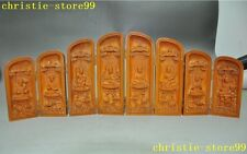 Old China buddhism Boxwood wood Carve kwan-yin sakyamuni 8 God buddha statue box