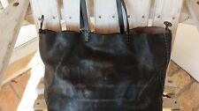 Henry Cuir Beguelin Black Grey Soft Distressed Leather Embroidered Large Tote