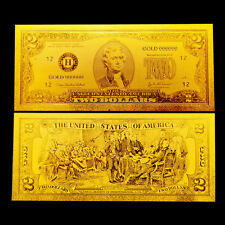 BILLETE 2$ US DOLLAR REPLICA ORO GOLD 24K