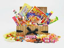 DELUXE WICKER Style RETRO SWEET HAMPER Large mix Birthday Engagement Gift