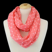 Coral and White Polka Dot FASHION Infinity Scarf