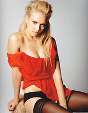 Jessica Alba 8x10 stockings and panties with red top