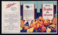 Post-1950 SERVE FRUIT FOR HEALTH flyer from  LIBBY'S canned foods