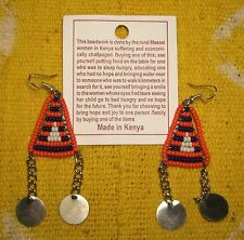 New Hand Made African Maasai Earrings Masai Massai Fair Trade jemd163